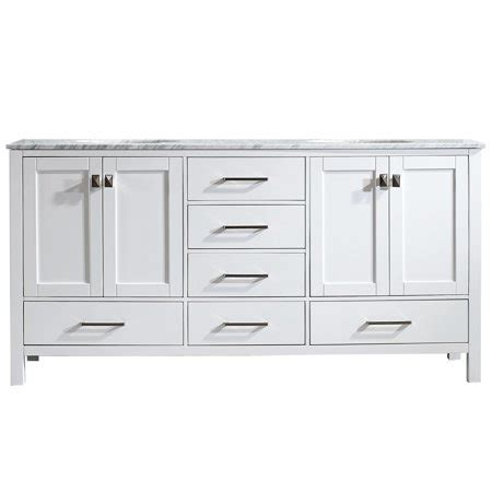"""Gela 72"""" Double Vanity in White with Carrara White Marble"""