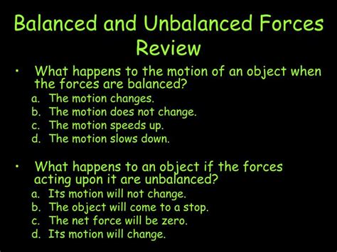 PPT - Balanced and Unbalanced Forces Review PowerPoint