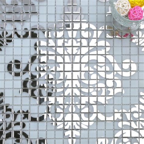 Mosaic Tile Murals White and Silver Glass Plated Wall