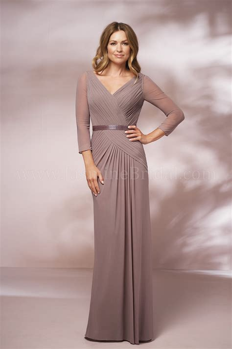 J205004 Long V-neck Stretch Illusion MOB Dress with Sleeves