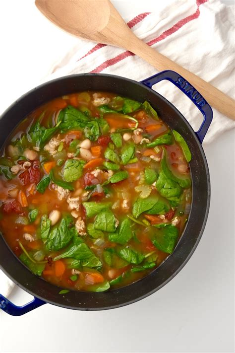 Italian Chicken Sausage Soup with Spinach   Healthy Aperture