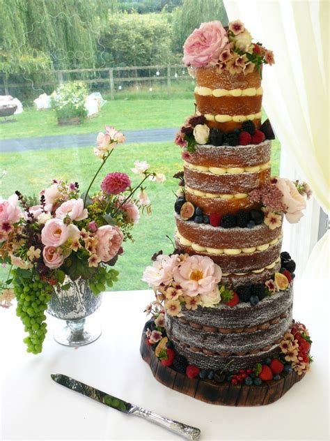 Summer Flowers & Fruits Naked Wedding Cake - Pink Cocoa